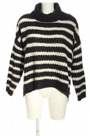 Clockhouse Coarse Knitted Sweater black-white striped pattern casual look