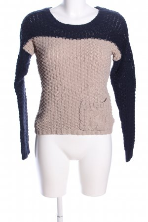 Clockhouse Grobstrickpullover blau-wollweiß Zopfmuster Casual-Look