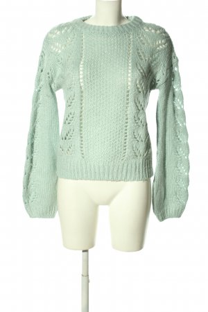 Clockhouse Crochet Sweater turquoise cable stitch casual look
