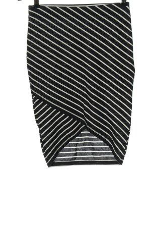 Clockhouse Spódnica z wysokim stanem czarny-biały Wzór w paski W stylu casual