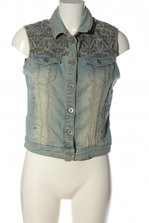 Clockhouse Smanicato jeans blu-marrone stampa integrale stile casual