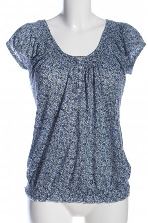 Clockhouse Kurzarm-Bluse blau-hellgrau Allover-Druck Casual-Look