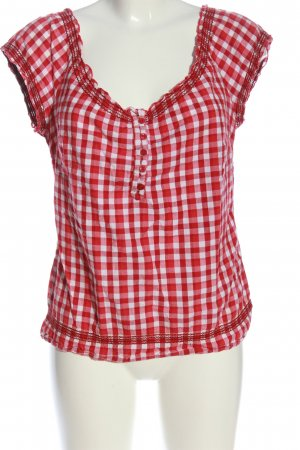 Clockhouse Kurzarm-Bluse rot-weiß Allover-Druck Casual-Look
