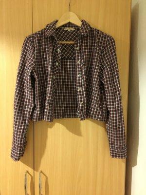 C&A Clockhouse Camicia a maniche lunghe rosso scuro-blu scuro Cotone