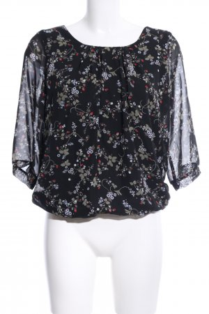 Clockhouse Langarm-Bluse schwarz Blumenmuster Business-Look