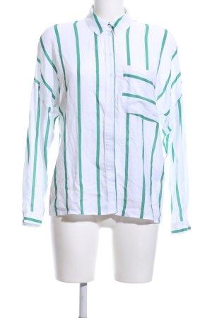 Clockhouse Langarm-Bluse weiß-grün Streifenmuster Business-Look