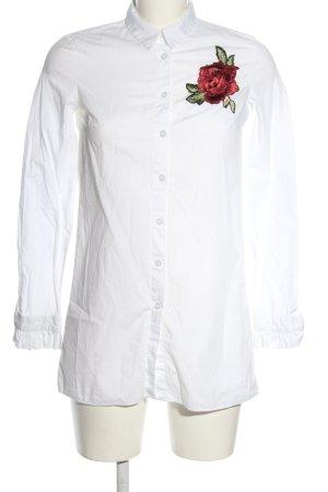 Clockhouse Langarmhemd weiß Blumenmuster Casual-Look