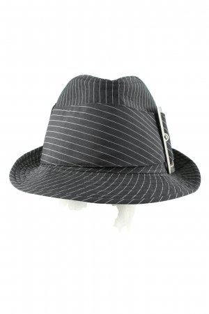 Clockhouse Panama Hat light grey-white striped pattern casual look