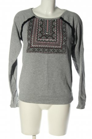 Clockhouse Rundhalspullover hellgrau grafisches Muster Casual-Look
