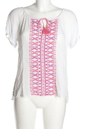 Clockhouse Schlupf-Bluse weiß-pink grafisches Muster Casual-Look