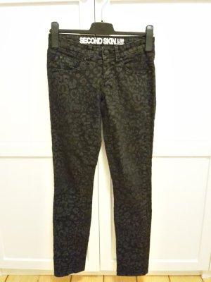 Clockhouse Skinny Jeans Gr. 34 Leoprint schwarz grau Fleckenmuster Super Skinny