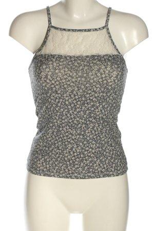 Clockhouse Top con bretelline grigio chiaro-crema stampa integrale stile casual