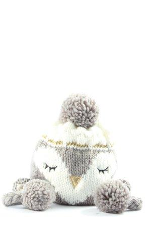 Clockhouse Sombrero de punto gris claro-blanco look casual