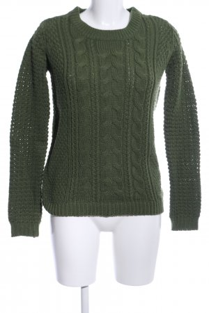 Clockhouse Strickpullover khaki Zopfmuster Casual-Look