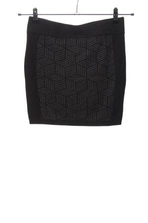 Clockhouse Gebreide rok zwart-lichtgrijs volledige print casual uitstraling