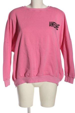 Clockhouse Sweat Shirt pink-black printed lettering casual look