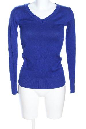 Clockhouse V-Ausschnitt-Pullover blau Blumenmuster Casual-Look