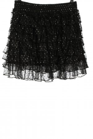Clockhouse Spódnica z falbanami czarny-biały Na całej powierzchni Elegancki