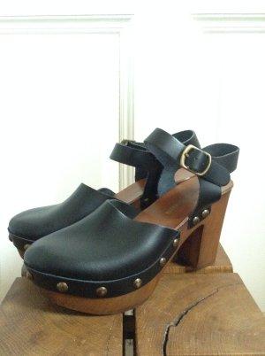 Socque noir-bronze cuir