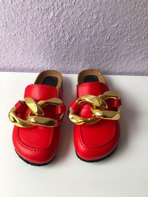 Sabot doré-rouge cuir