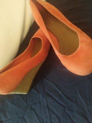 Arezzo Escarpin compensé orange fluo cuir