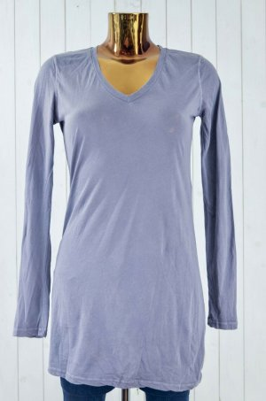 CLOSED Damen Shirt V-Ausschnitt Langarm Baumwolle Lila-Grau Oversized Gr.S