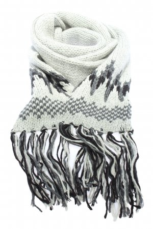 Closed Fringed Scarf light grey-black graphic pattern casual look