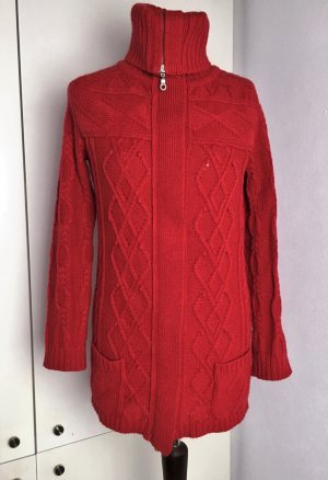 Closed Coarse Knitted Jacket raspberry-red-carmine wool