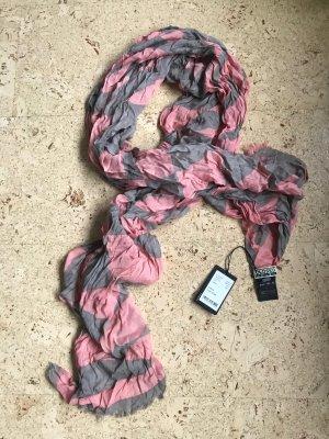 Closed Sciarpa con frange rosa-grigio Cotone