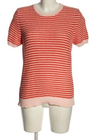 Closed Top en maille crochet blanc-rouge motif rayé style décontracté