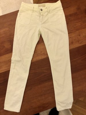 Closed Five-Pocket Trousers pale yellow cotton
