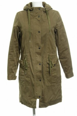 Closed Hooded Coat olive green cotton