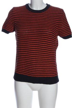 Closed Sweter z krótkim rękawem brązowy-czarny Wzór w paski W stylu casual