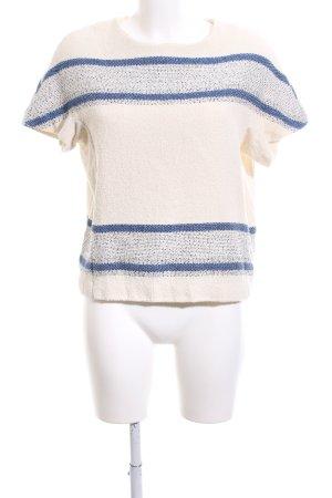Closed Maglione a maniche corte bianco sporco-blu motivo a righe stile casual