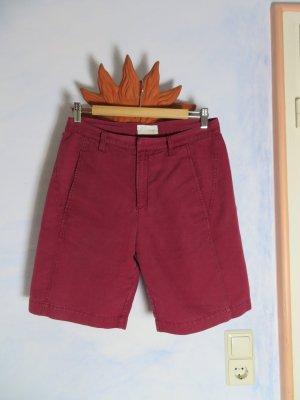 CLOSED Leinenshorts Burgundy Rot High Waist Long Shorts Gr. M Momhose