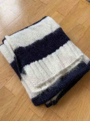 Closed Woolen Scarf dark blue-natural white