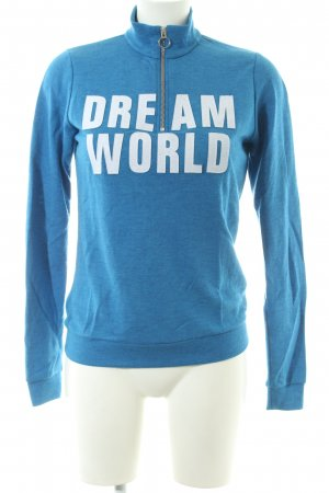 Closed Sweatshirt blau-weiß Schriftzug gedruckt Casual-Look