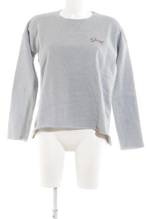 Closed Sweatshirt hellgrau-braun Schriftzug gestickt Casual-Look