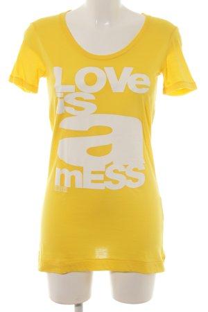 Closed T-Shirt gelb-weiß Schriftzug gedruckt Casual-Look