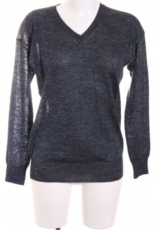 Closed Jersey con cuello de pico azul oscuro-gris antracita moteado look casual