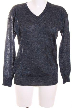 Closed V-Ausschnitt-Pullover dunkelblau-anthrazit meliert Casual-Look