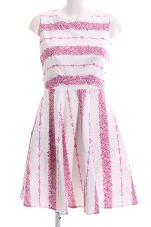 Closet A-Linien Kleid weiß-pink Blumenmuster Elegant