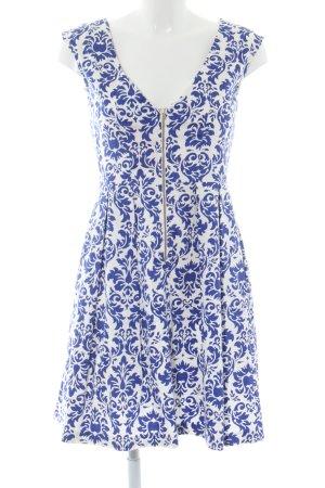 Closet A-Linien Kleid weiß-blau abstraktes Muster Casual-Look