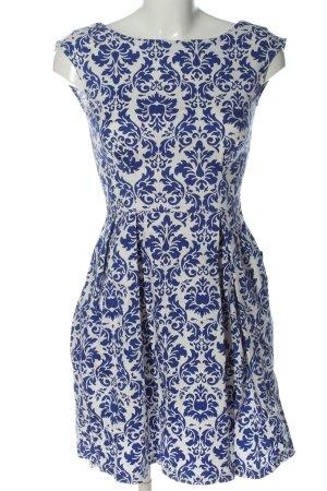 Closet Abito linea A blu-bianco motivo astratto elegante