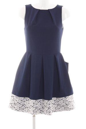 Closet Abendkleid blau-weiß Blumenmuster Elegant