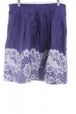 Closet Flared Skirt dark violet-white flower pattern casual look