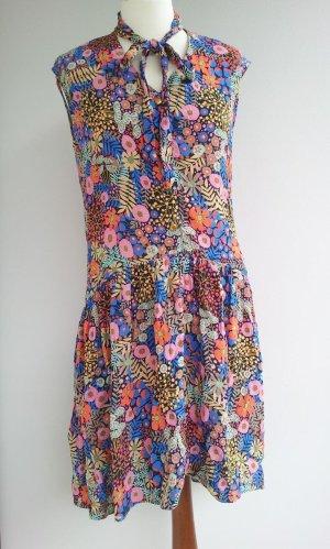 Closet Kleid in UK12 (38), Schwarz / Bunt, Blumen Goldknöpfe, NEU