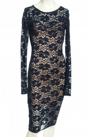 Club L Evening Dress black-cream allover print elegant