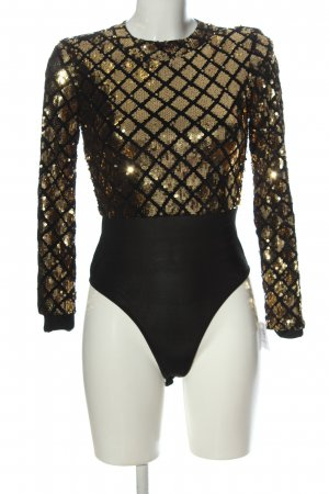 Club L Bodysuit Blouse black-gold-colored abstract pattern casual look