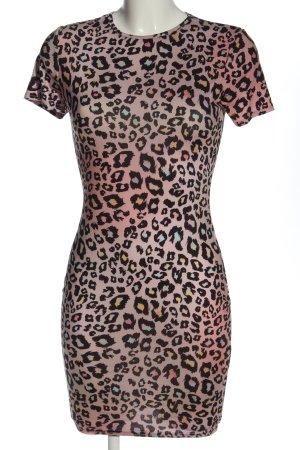Club L Robe à manches courtes rose-noir imprimé allover style décontracté
